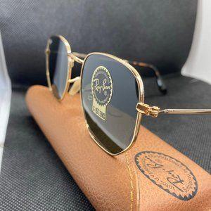 Ray-Ban Hexagonal Gold Green Sunglasses